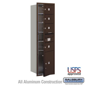 Salsbury Industries 4C Horizontal Mailbox - 15 Door High Unit (55 Inches) - Single Column - 4 MB2 Doors / 1 PL5 - Bronze - Front Loading - USPS Acce at Sears.com