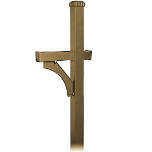 Deluxe Post - 1 Sided - In-Ground Mounted - for Designer Roadside Mailbox - Bronze