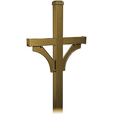 Deluxe Post - 2 Sided - In-Ground Mounted - for Designer Roadside Mailbox - Bronze