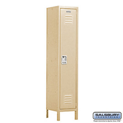 Extra Wide Standard Metal Locker - Single Tier - 1 Wide - 6 Feet High - 15 Inches Deep - Tan - Assembled
