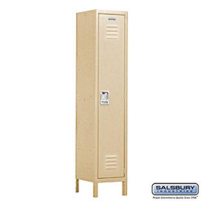 Extra Wide Standard Metal Locker - Single Tier - 1 Wide - 6 Feet High - 15 Inches Deep - Tan - Assembled