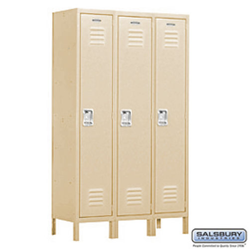 Extra Wide Standard Metal Locker - Single Tier - 3 Wide - 6 Feet High - 15 Inches Deep - Tan - Assembled