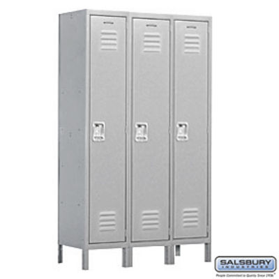 Extra Wide Standard Metal Locker - Single Tier - 3 Wide - 6 Feet High - 18 Inches Deep - Gray - Assembled
