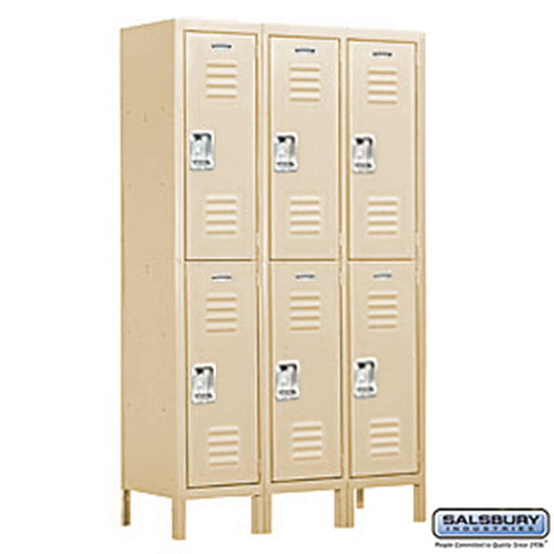 Extra Wide Standard Metal Locker - Double Tier - 3 Wide - 6 Feet High - 18 Inches Deep - Tan - Assembled
