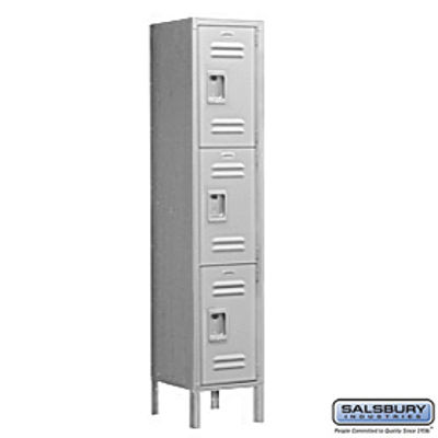 Extra Wide Standard Metal Locker - Triple Tier - 1 Wide - 6 Feet High - 15 Inches Deep - Gray - Unassembled