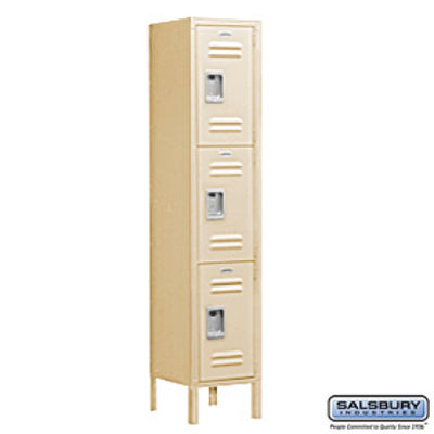 Extra Wide Standard Metal Locker - Triple Tier - 1 Wide - 6 Feet High - 15 Inches Deep - Tan - Unassembled
