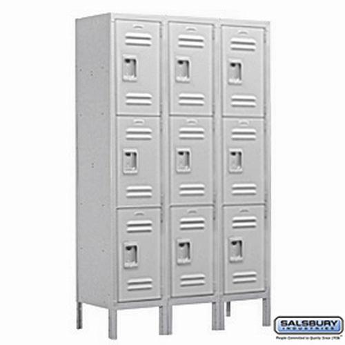 Extra Wide Standard Metal Locker - Triple Tier - 3 Wide - 6 Feet High - 18 Inches Deep - Gray - Assembled
