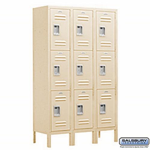 Extra Wide Standard Metal Locker - Triple Tier - 3 Wide - 6 Feet High - 18 Inches Deep - Tan - Unassembled