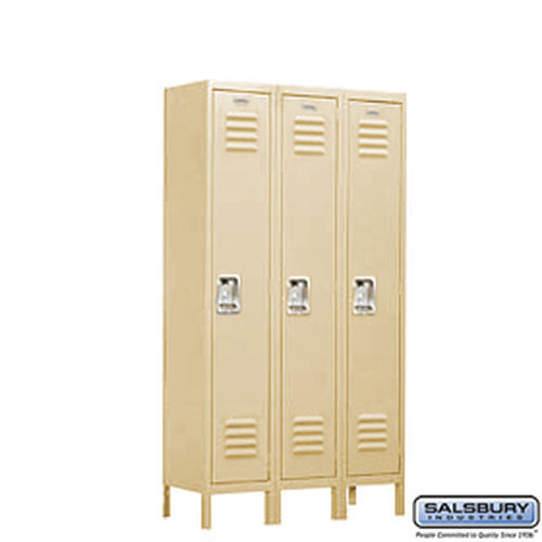 Standard Metal Locker - Single Tier - 3 Wide - 5 Feet High - 18 Inches Deep - Tan - Assembled