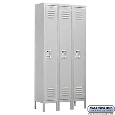Standard Metal Locker - Single Tier - 3 Wide - 6 Feet High - 18 Inches Deep - Gray - Unassembled