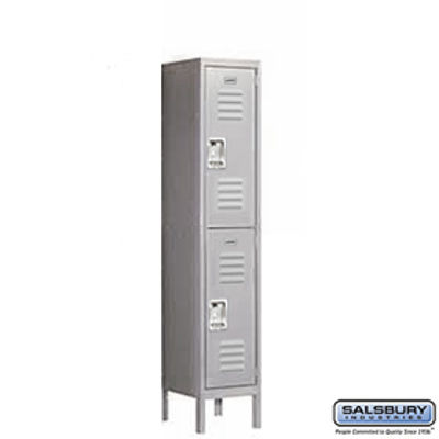 Standard Metal Locker - Double Tier - 1 Wide - 5 Feet High - 15 Inches Deep - Gray - Assembled