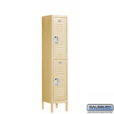 Standard Metal Locker - Double Tier - 1 Wide - 5 Feet High - 18 Inches Deep - Tan - Unassembled