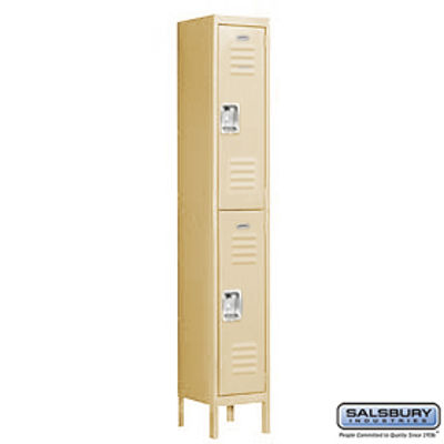 Standard Metal Locker - Double Tier - 1 Wide - 6 Feet High - 12 Inches Deep - Tan - Assembled