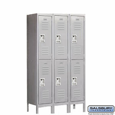 Standard Metal Locker - Double Tier - 3 Wide - 5 Feet High - 12 Inches Deep - Gray - Unassembled