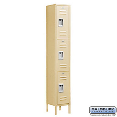 Standard Metal Locker - Triple Tier - 1 Wide - 6 Feet High - 15 Inches Deep - Tan - Unassembled