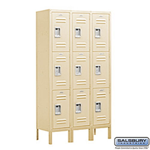 Standard Metal Locker - Triple Tier - 3 Wide - 5 Feet High - 12 Inches Deep - Tan - Unassembled