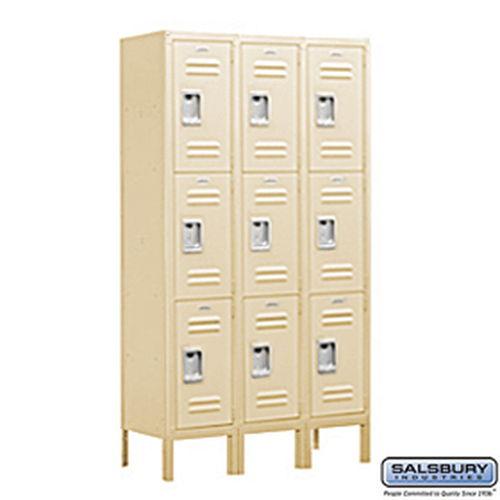 Standard Metal Locker - Triple Tier - 3 Wide - 5 Feet High - 12 Inches Deep - Tan - Unassembled
