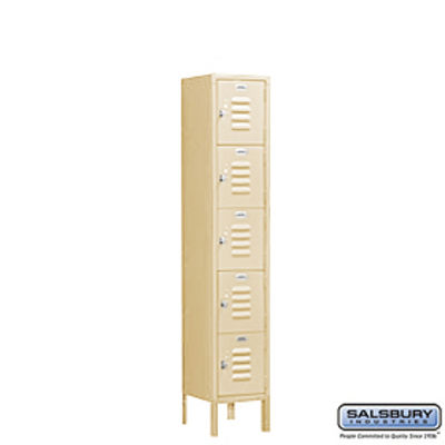 Standard Metal Locker - Five Tier Box Style - 1 Wide - 5 Feet High - 12 Inches Deep - Tan - Unassembled