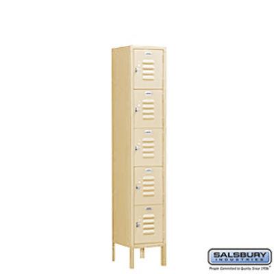 Standard Metal Locker - Five Tier Box Style - 1 Wide - 5 Feet High - 12 Inches Deep - Tan - Unassembled