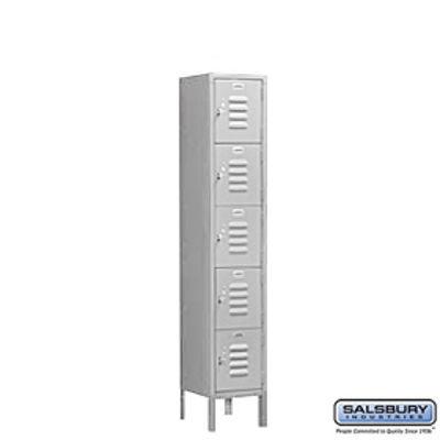 Standard Metal Locker - Five Tier Box Style - 1 Wide - 5 Feet High - 15 Inches Deep - Gray - Unassembled