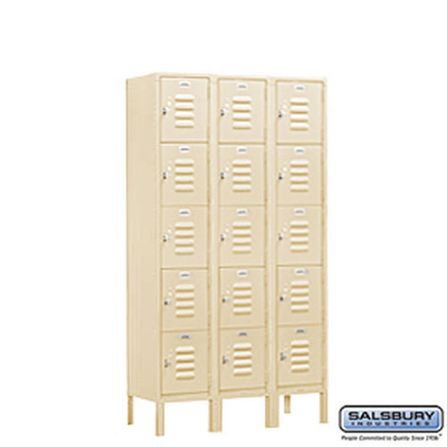 Standard Metal Locker - Five Tier Box Style - 3 Wide - 5 Feet High - 12 Inches Deep - Tan - Unassembled