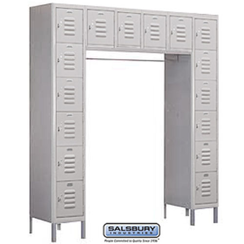 Standard Metal Locker - Six Tier Box Style Bridge - 16 Box - 18 Inches Deep - Gray - Assembled