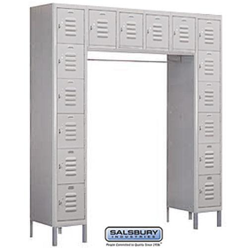 Standard Metal Locker - Six Tier Box Style Bridge - 16 Box - 18 Inches Deep - Gray - Assembled