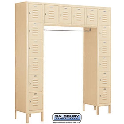 Standard Metal Locker - Six Tier Box Style Bridge - 16 Box - 18 Inches Deep - Tan - Unassembled