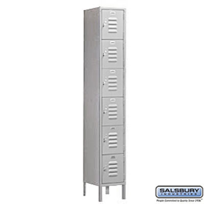 Standard Metal Locker - Six Tier Box Style - 1 Wide - 6 Feet High - 12 Inches Deep - Gray - Assembled