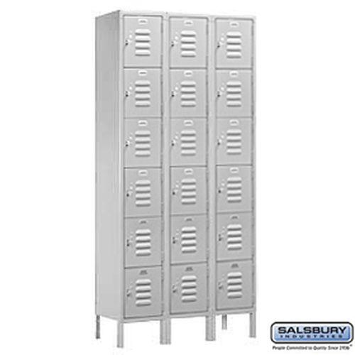 Standard Metal Locker - Six Tier Box Style - 3 Wide - 6 Feet High - 12 Inches Deep - Gray - Unassembled