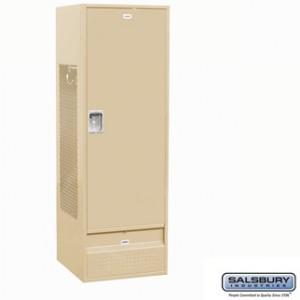 Standard Gear Metal Locker - Solid Door - 6 Feet High - 24 Inches Deep - Tan - Assembled