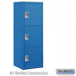 Welded Industrial Storage Cabinet - Three Doors - 72 Inches High - 24 Inches Deep - Blue