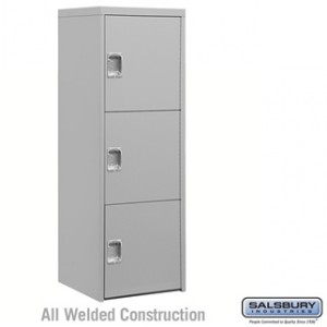 Welded Industrial Storage Cabinet - Three Doors - 72 Inches High - 24 Inches Deep - Gray