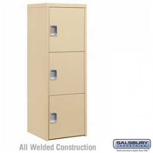 Welded Industrial Storage Cabinet - Three Doors - 72 Inches High - 24 Inches Deep - Tan