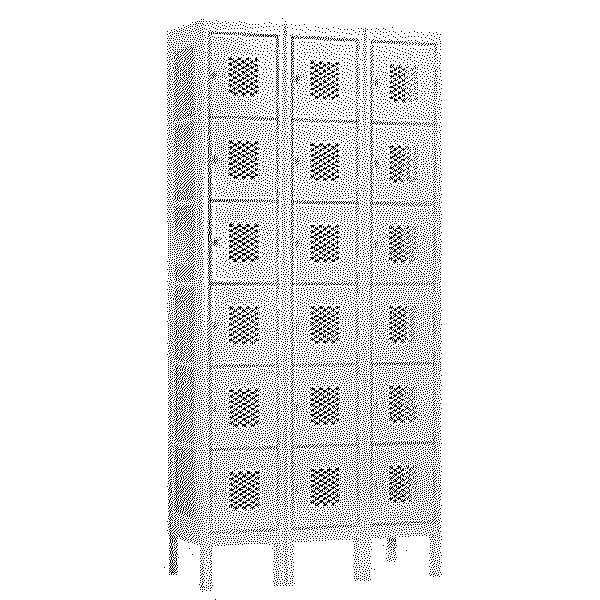 Vented Metal Locker - Six Tier Box Style - 3 Wide - 6 Feet High - 15 Inches Deep - Gray - Unassembled