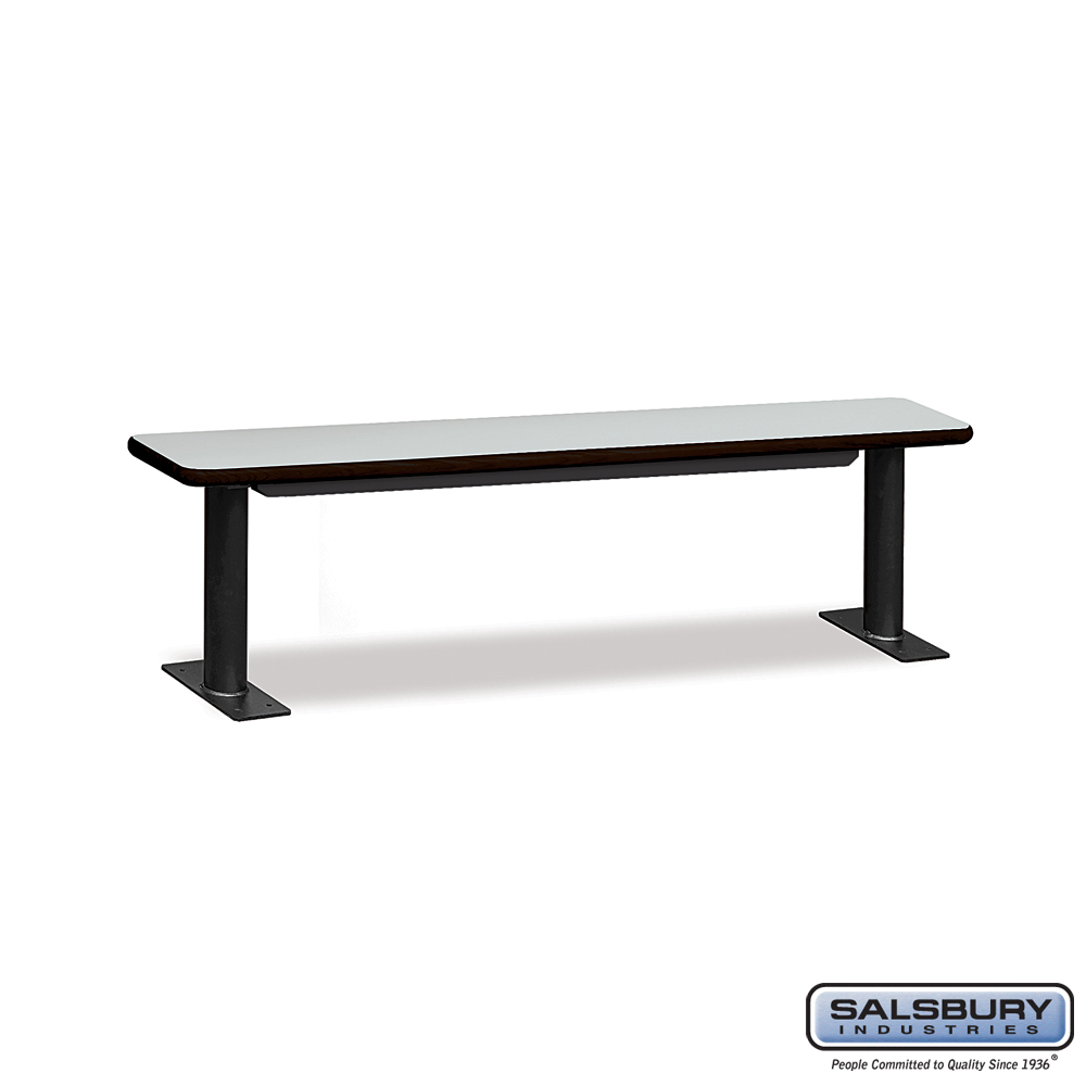 Designer Wood Locker Benches - 72 Inches Wide - Gray