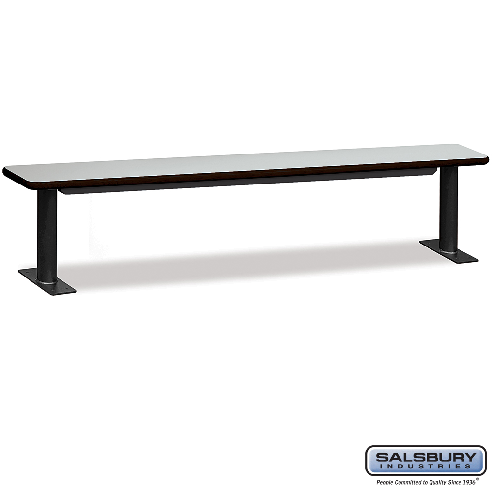 Designer Wood Locker Benches - 96 Inches Wide - Gray