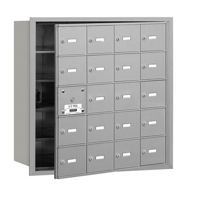 4B+ Horizontal Mailbox (Includes Master Commercial Lock) - 20 A Doors (19 usable) - Aluminum - Front Loading - Private Access