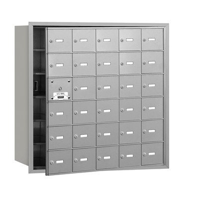 4B+ Horizontal Mailbox (Includes Master Commercial Lock) - 30 A Doors (29 usable) - Aluminum - Front Loading - Private Access