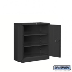Heavy Duty Storage Cabinet - Counter Height - 42 Inches High - 18 Inches Deep - Black - Unassembled