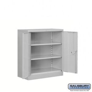 Heavy Duty Storage Cabinet - Counter Height - 42 Inches High - 18 Inches Deep - Gray - Unassembled