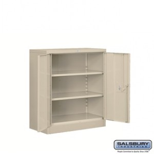 Heavy Duty Storage Cabinet - Counter Height - 42 Inches High - 18 Inches Deep - Tan - Unassembled