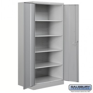 Heavy Duty Storage Cabinet - Standard - 78 Inches High - 18 Inches Deep - Gray - Unassembled