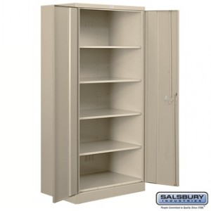 Heavy Duty Storage Cabinet - Standard - 78 Inches High - 18 Inches Deep - Tan - Assembled