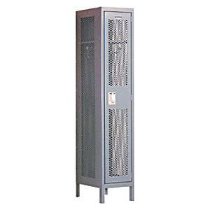 Extra Wide Vented Metal Locker - Single Tier - 1 Wide - 6 Feet High - 15 Inches Deep - Gray - Assembled