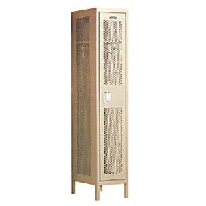 Extra Wide Vented Metal Locker - Single Tier - 1 Wide - 6 Feet High - 15 Inches Deep - Tan - Assembled