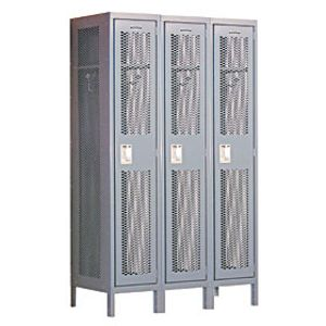 Extra Wide Vented Metal Locker - Single Tier - 3 Wide - 6 Feet High - 15 Inches Deep - Gray - Assembled