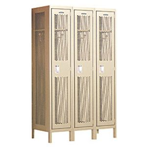 Extra Wide Vented Metal Locker - Single Tier - 3 Wide - 6 Feet High - 15 Inches Deep - Tan - Assembled