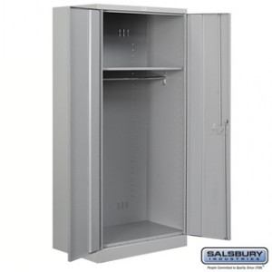 Heavy Duty Storage Cabinet - Wardrobe - 78 Inches High - 24 Inches Deep - Gray - Unassembled