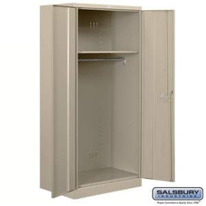 Heavy Duty Storage Cabinet - Wardrobe - 78 Inches High - 24 Inches Deep - Tan - Unassembled